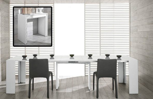 "30"" White MDF Extendable Dining Table"