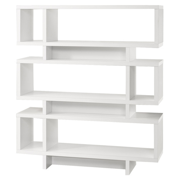 "12"" x 47.25"" x 54.75"" White, Particle Board, Hollow-Core - Bookcase"