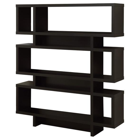 """12"""" x 47.25"""" x 54.75"""" Cappuccino, Particle Board, Hollow-Core - Bookcase"""