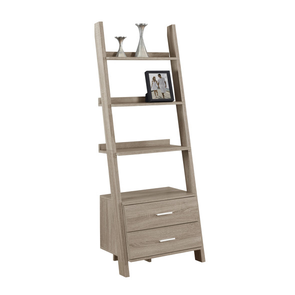 """16.75"""" x 25.5"""" x 69"""" Dark Taupe, Particle Board, Hollow-Core - Bookcase with 2 Storage Drawers"""