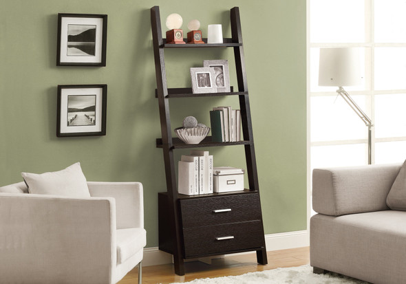 """69"""" Cappuccino Particle Board Ladder Bookcase with Two Storage Drawers"""