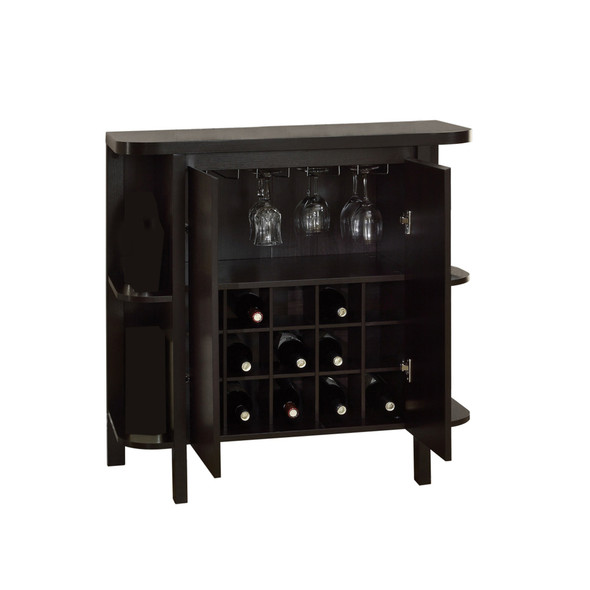 "15.5"" x 36"" x 36"" Cappuccino, Particle Board, Hollow-Core - Glass Storage Home Bar"