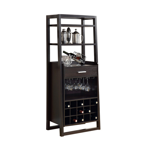 "15.75"" x 24"" x 60"" Cappuccino, Particle Board, Hollow-Core - Ladder Style Home Bar"