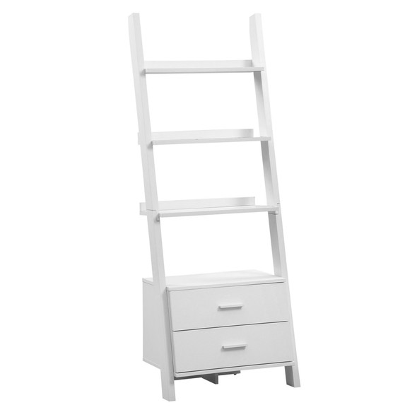 """16.75"""" x 25.5"""" x 69"""" White, Particle Board, Hollow-Core - Bookcase with 2 Storage Drawers"""