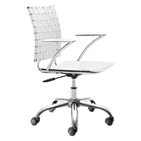 """23"""" X 23"""" X 35"""" White Leatherette Office Chair"""