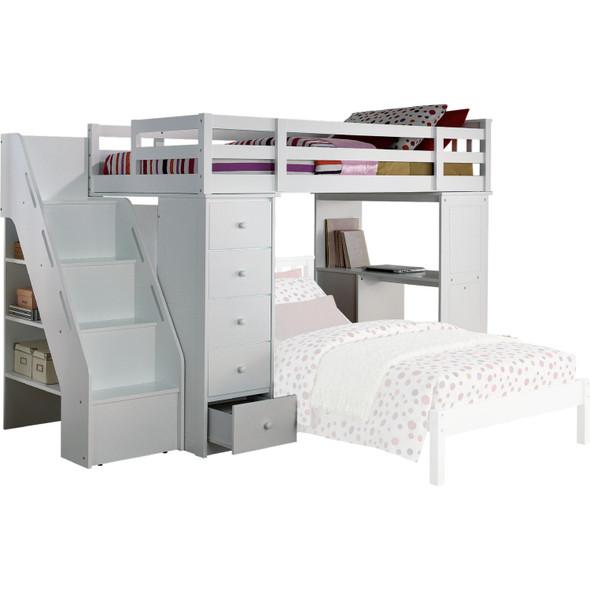 "79"" X 42"" X 66"" White Solid Wood Loft Bed And Bookshelf Ladder"