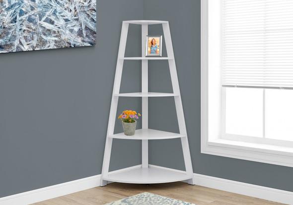 """24.25"""" x 34.25"""" x 60"""" White, Black, Particle Board - Bookcase Corner Accent Shelf"""