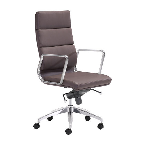 """21"""" X 26"""" X 44.5"""" Espresso Leatherette High Back Office Chair"""