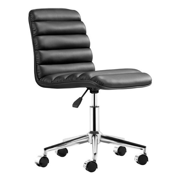 """18.5"""" X 22"""" X 35.5"""" Black Leatherette Office Chair"""