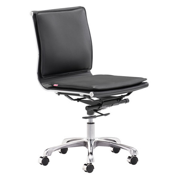 """23"""" X 23"""" X 40"""" Black Leatherette Armless Office Chair"""