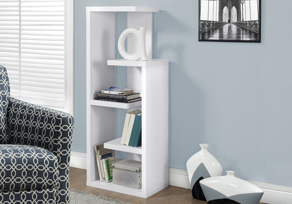 "12"" x 18.5"" x 47.25"" White, Particle Board, Hollow-Core - Bookcase"