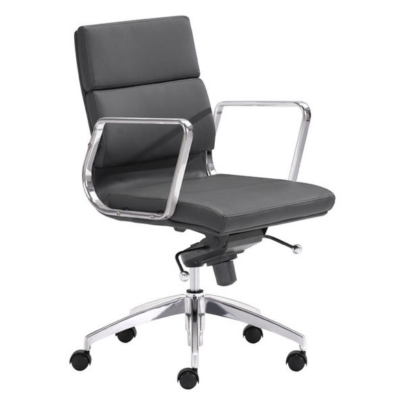 """21"""" X 26"""" X 39"""" Black Leatherette Low Back Office Chair"""
