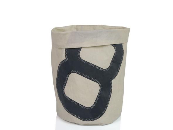 "12.60"" X 14.17"" X 0.20"" White Recycled Sailcloth Basket Dacron Grey 8"