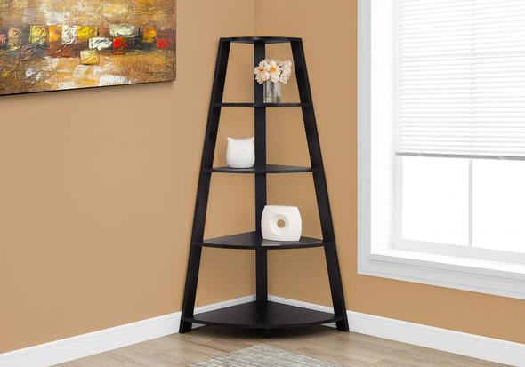 """24.25"""" x 34.25"""" x 60"""" Cappuccino, Black, Particle Board - Bookcase Corner Accent Shelf"""