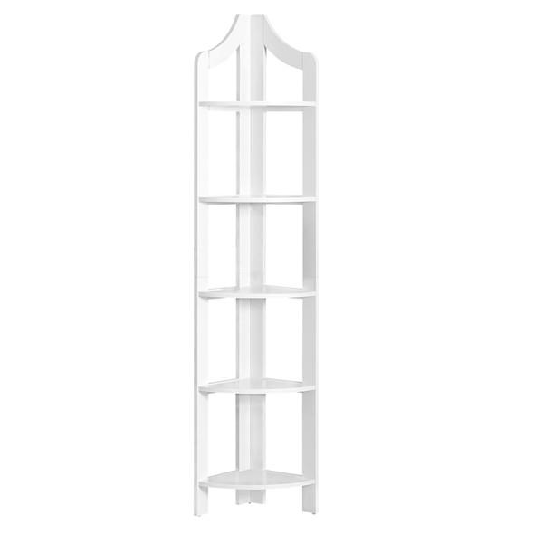 """12.25"""" x 17.5"""" x 71"""" White, Particle Board, Corner Accent Shelf - Bookcase"""