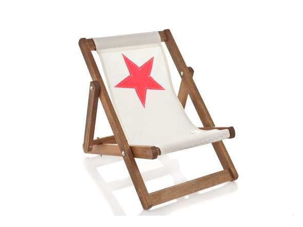 "17.72"" X 28.74"" X 1.97"" White Recycled Sailcloth Mini Deck Chair Pink Star"