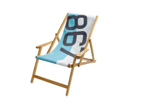 "28.35"" X 61.02"" X 3.15"" White South Sea Recycled Sailcloth Deck Chair Dacron Grey 867"