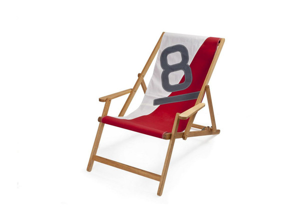 """28.35"""" X 61.02"""" X 3.15"""" White Red Recycled Sailcloth Deck Chair Dacron Grey 8"""