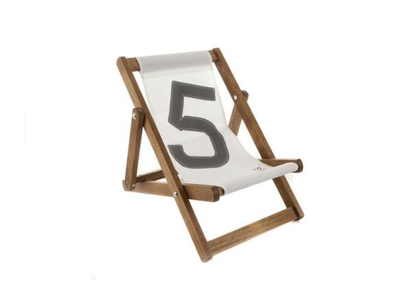 "17.72"" X 28.74"" X 1.97"" White Recycled Sailcloth Mini Deck Chair Dacron Grey 5"