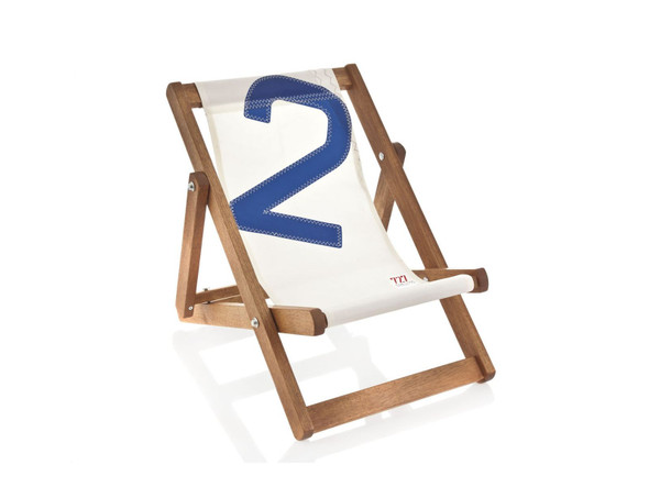 """17.72"""" X 28.74"""" X 1.97"""" White Recycled Sailcloth Mini Deck Chair Dacron Blue 2"""