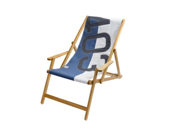 "28.35"" X 61.02"" X 3.15"" White Nattier Blue Recycled Sailcloth Deck Chair Dacron Grey 403"