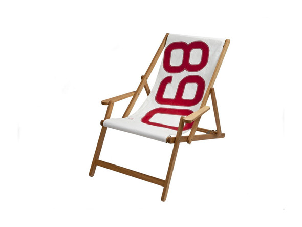 """28.35"""" X 61.02"""" X 3.15"""" White Recycled Sailcloth Deck Chair Dacron Red 890"""