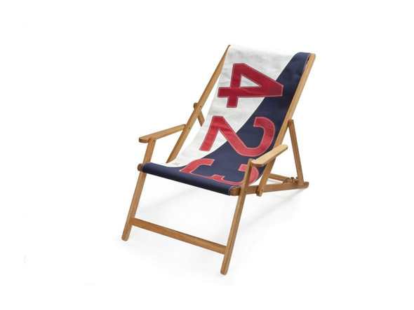 """28.35"""" X 61.02"""" X 3.15"""" White Navy Blue Recycled Sailcloth Deck Chair Dacron Red 423"""