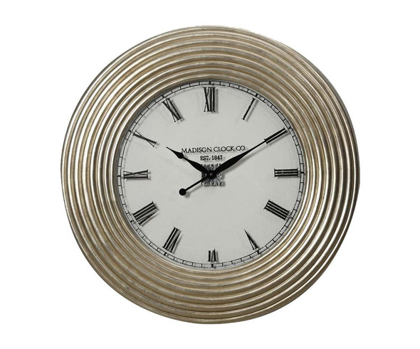 Round Wooden Wall Clock with Ribbed Frame, Silver