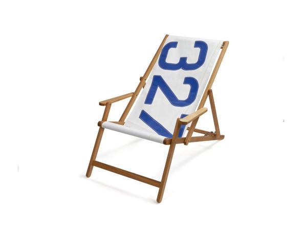 """28.35"""" X 61.02"""" X 3.15"""" White Recycled Sailcloth Deck Chair Dacron Blue 327"""