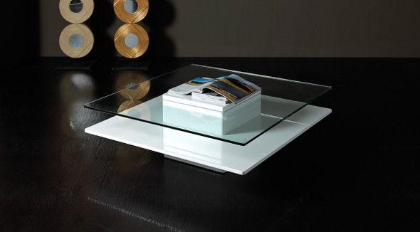 """14"""" White MDF and Glass Coffee Table"""