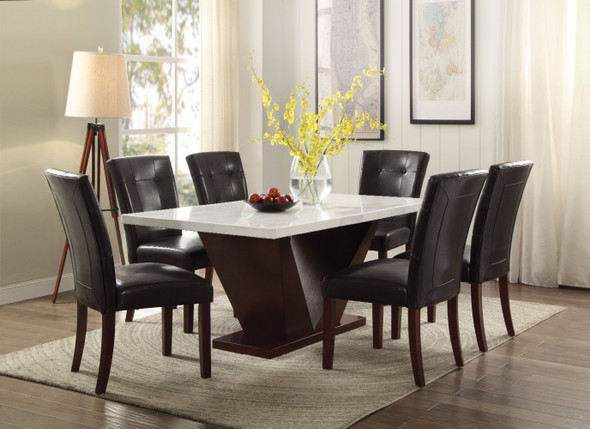 Dining Table, White Marble amp; Walnut Brown