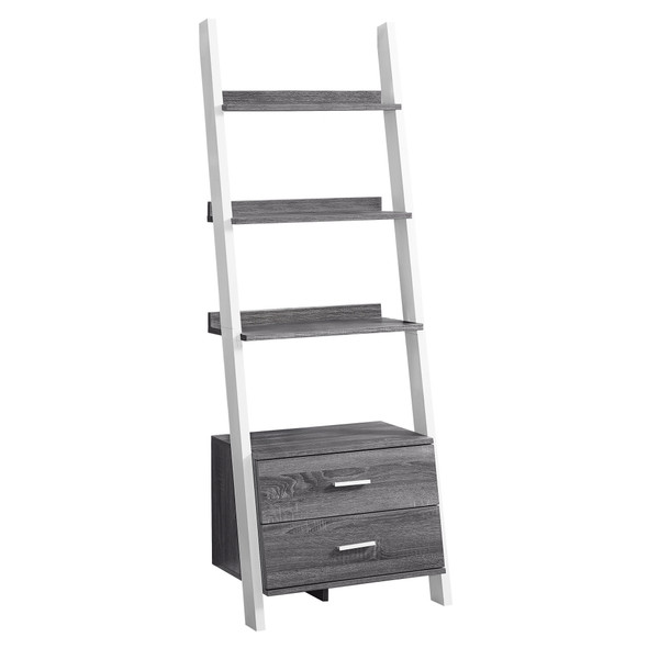 """16.75"""" x 25.5"""" x 69"""" Grey, White, Particle Board, Hollow-Core - Bookcase with 2 Storage Drawers"""