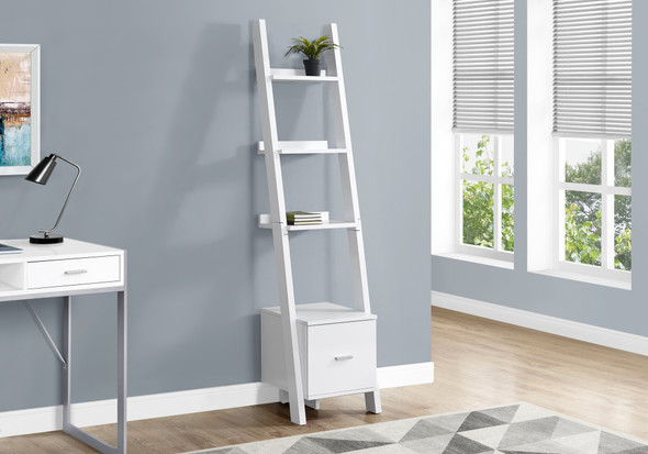 """69"""" White Particle Board Ladder Bookcase with a Storage Drawer"""
