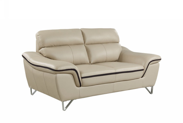 "36"" Contemporary Beige Leather Loveseat"