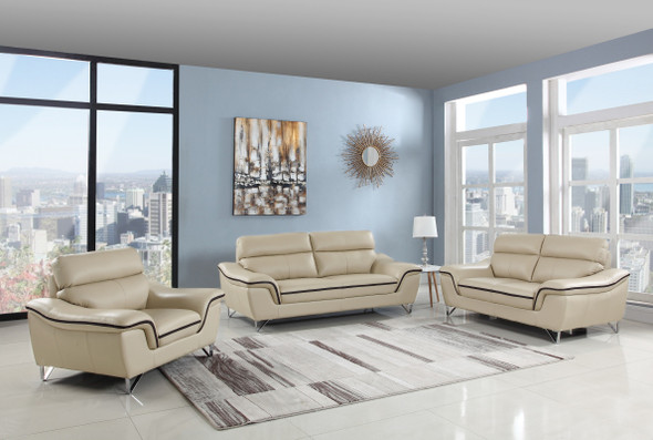 "108"" Charming Beige Leather Sofa Set"
