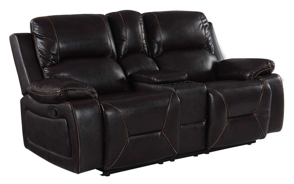 "40"" Classy Brown Leather Loveseat"