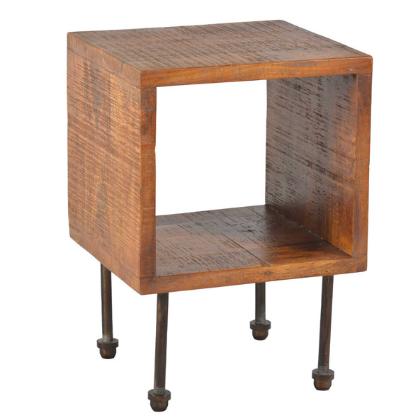Open Compartment Wooden Nightstand with Tubular Metal Legs Support, Brown