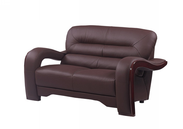 "36"" Glamorous Brown Leather Loveseat"