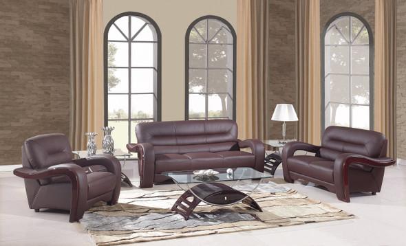 "105"" Glamorous Brown Leather Sofa Set"