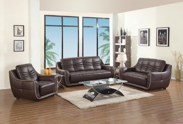 "108"" Elegant Brown Leather Sofa Set"