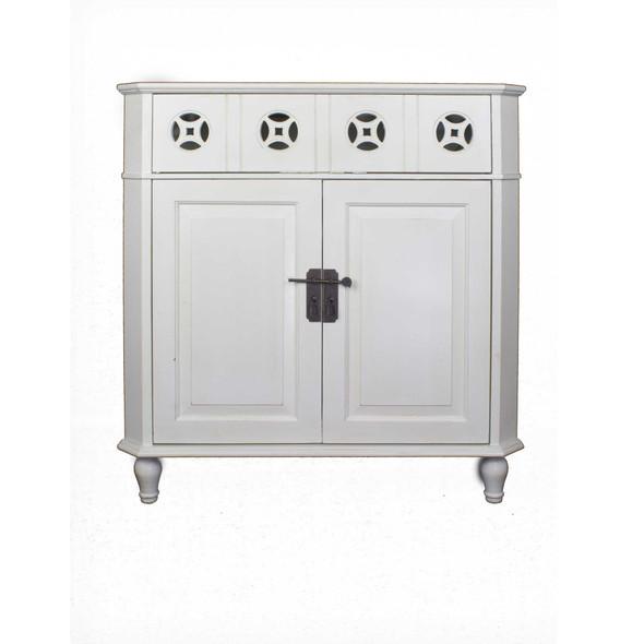 """31"""" X 17"""" X 32"""" White MDF Wood 1-Drawer, 2-Door Corner Cabinet"""