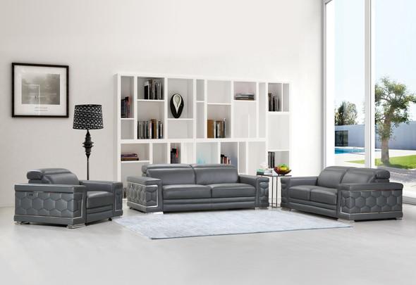 """114"""" Sturdy Dark Grey Leather Sofa Set"""