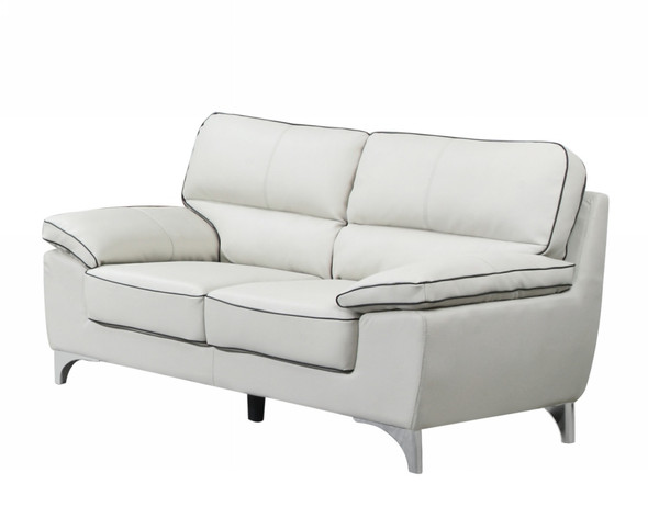 "37"" Classy Light Gray Leather Loveseat"