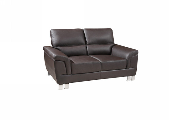 "37"" Modern Brown Leather Loveseat"