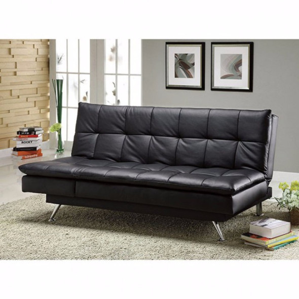 Leatherette Couch Futon, Black