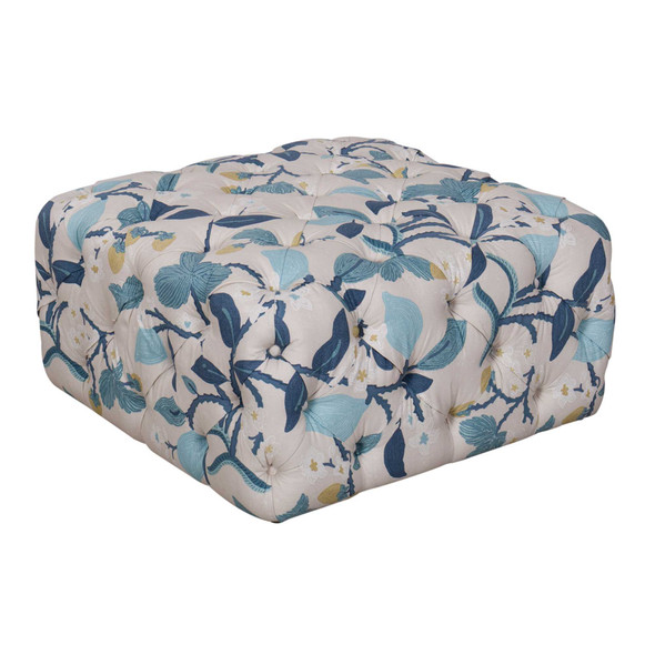 Fabric Upholstered Wooden Ottoman with Button Tufted Detailing, Multicolor