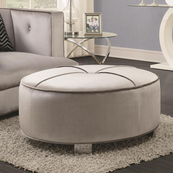 Contemporary Velvet Fabric amp; Metal Ottoman With Tufted Design, Gray