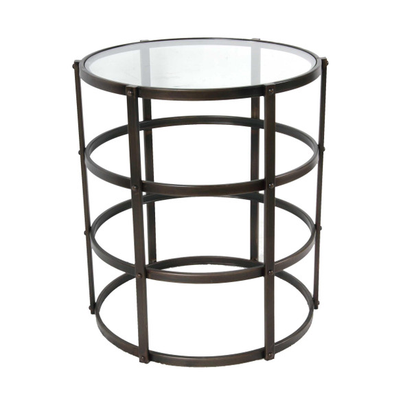 Metal and Glass Side Table with Round and Open Design, Black and Clear