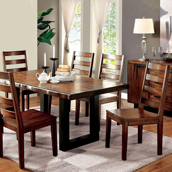 Contemporary Style Dining Table, Tobacco Oak Finish