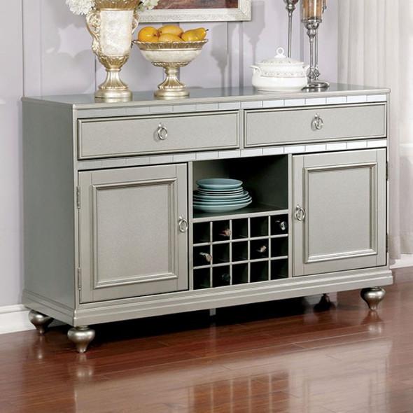 Contemporary Style Server, Silver Gray Finish